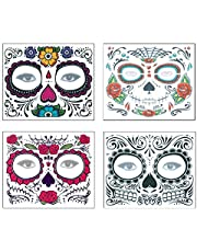 4 Pcs Halloween Temporary Stickers Day of The Dead Sugar Skull Masquerade Face Tattoo Glitter Skeleton Flower Floral Red Roses Makeup Sticker for Women Halloween Cosplay Costume Party Supplies Favors