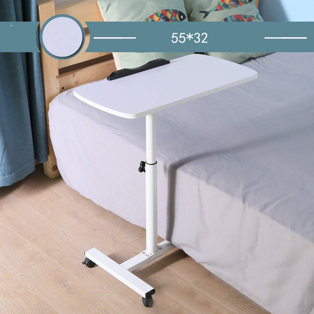 CLEAVE WAVES Faltbarer Sofa-Beistelltisch-Rad Höhenverstellbarer Laptopwagen Kippbares Mobile Bed-Bed Sofa Zeichentisch Zeichnen Schreibtisch 55x32 cm Weiß