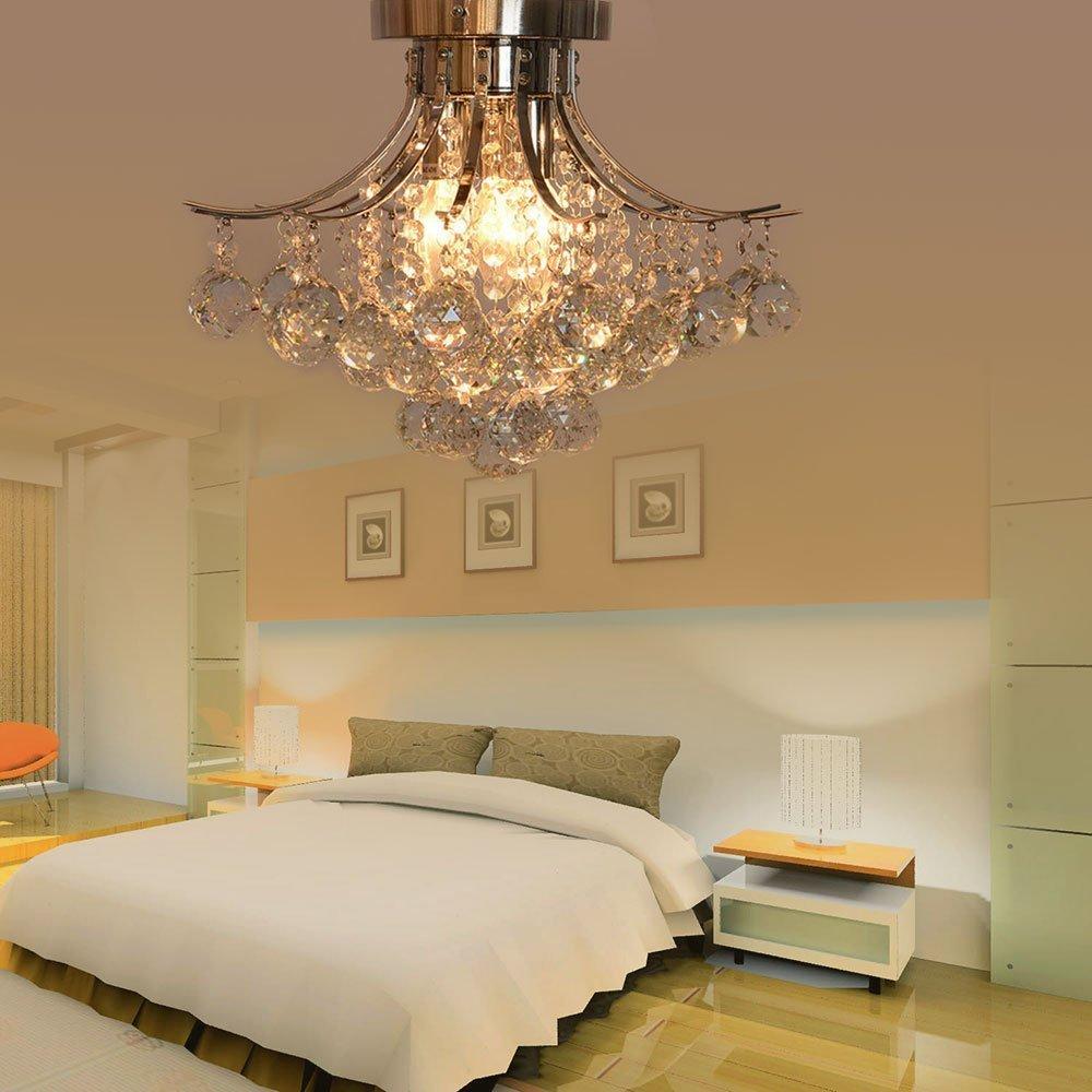 Dst Moderne Kristall /& Chrome 3 Licht Deckenleuchte Kronleuchter Lampe f/ür Esszimmer Wohnzimmer Schlafzimmer Arbeitszimmer D40cm H32cm