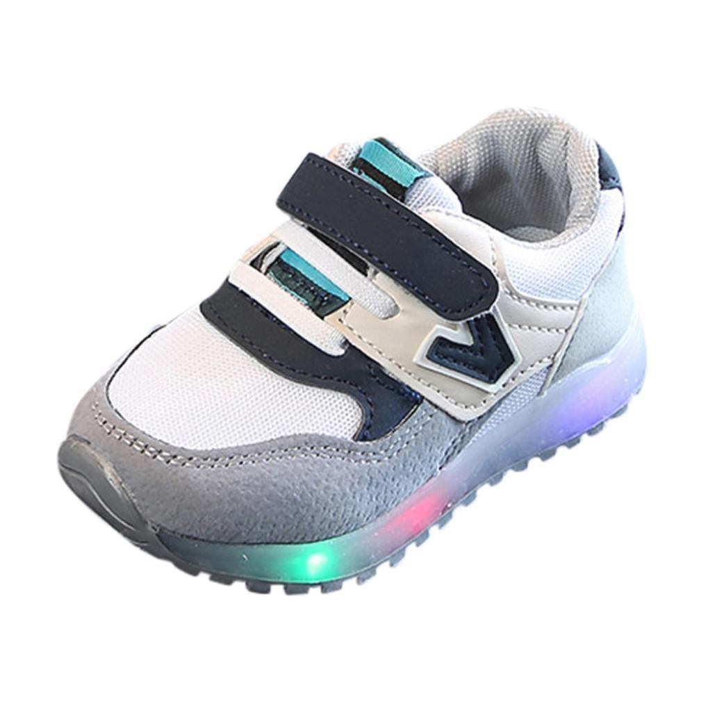 QinMM LED Lumières Sneakers Chaussures de Bébé, BéBé Garçon Fille Sport Lacet Amortisseur Anti-Dérapante Ville Doux Mode Toddler Tout-Petit Beau Toddler Semelle Molle