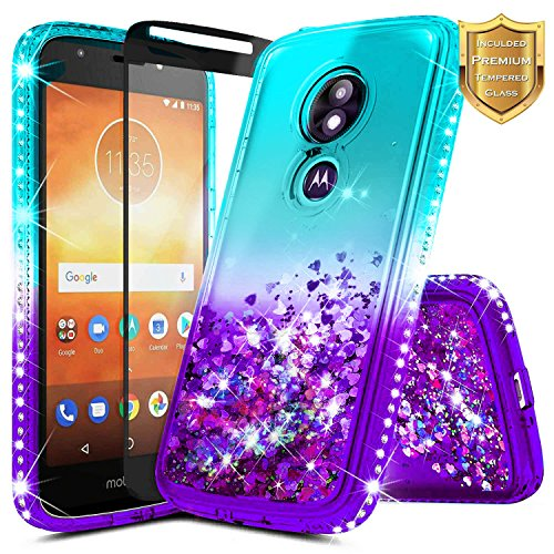 Moto E5 Play Case, Moto E5 Cruise/Motorola Moto E Play 5th Gen w/[Full Cover Tempered Glass Screen Protector], NageBee Glitter Liquid Quicksand Waterfall Sparkle Diamond Cute Case -Aqua/Purple