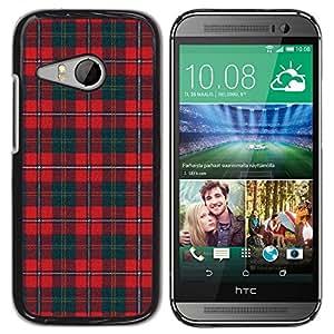 TopCaseStore / la caja del caucho duro de la cubierta de protección de la piel - Teal Red Pattern Scottish Lines - HTC ONE MINI 2 / M8 MINI