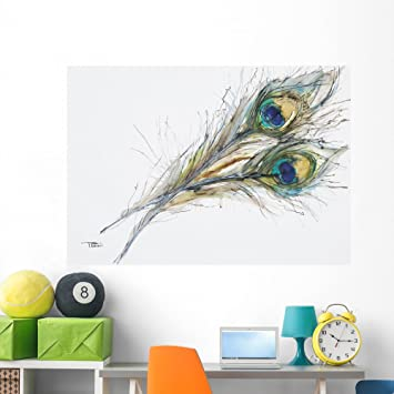 Watercolor Painting Two Peacock Wall Decal By Wallmonkeys Peel And Stick  Graphic (60 In W