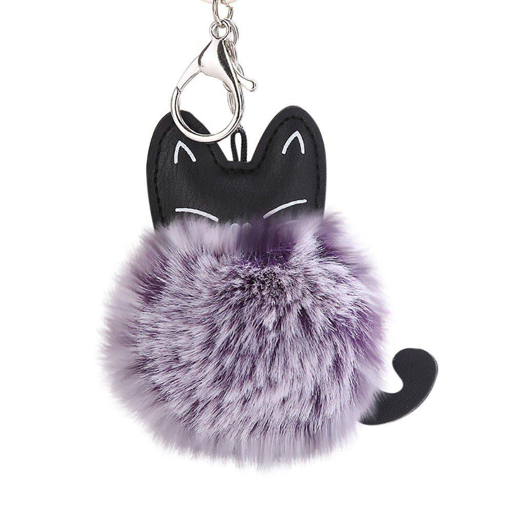 Porte-clés, Pompoms Chat porte-clés pendentif Porte-clés Pendentif sac 8cm-Lonshell (Gris)