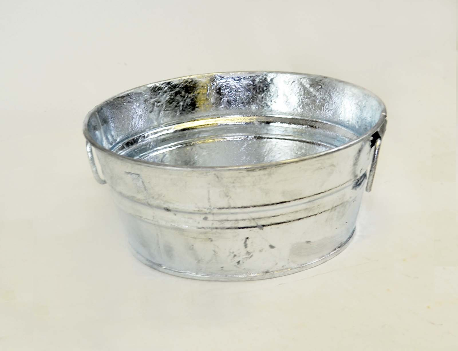 1.32 Gallon Galvanized Wash Tub with Handles-4.5 inches High x 10.5 inches Diameter