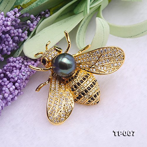 JYX Fine 9mm Tahitian Southsea Cultured Pearl Brooch Pin Pendant Bee-style by JYX Pearl (Image #5)