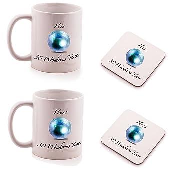 Geschenk Zum 30 Hochzeitstag | Pearl 30 Hochzeitstag His Und Hers Tasse Und Untersetzer Geschenk