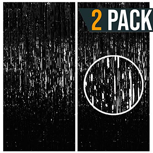Halloween Engagement Party (Black Metallic Tinsel Foil Fringe Curtains Party Photo Booth Props| Backdrop| Wedding Décor| Baby Shower| Graduations| Valentine Day| Bachelorette| Birthday Party| Halloween Door Decorations 2)