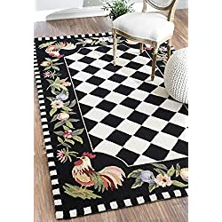 """Animal Prints Kids Country & Floral 3' 6"""" x 5' 6"""" Black Hand Hooked Area Rug Rooster"""