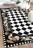 Cheap Animal Prints Kids Country & Floral 3′ 6″ x 5′ 6″ Black Hand Hooked Area Rug Rooster