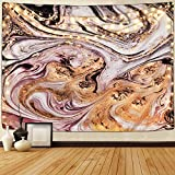 Marble Tapestry Psychedelic Quicksand Tapestries Liquid Swirl Art Black White Gold Tapestry Flow Wall Hanging Natural Landscape Tapestry for Room (Multi, 59.1 x 82.7 inches)