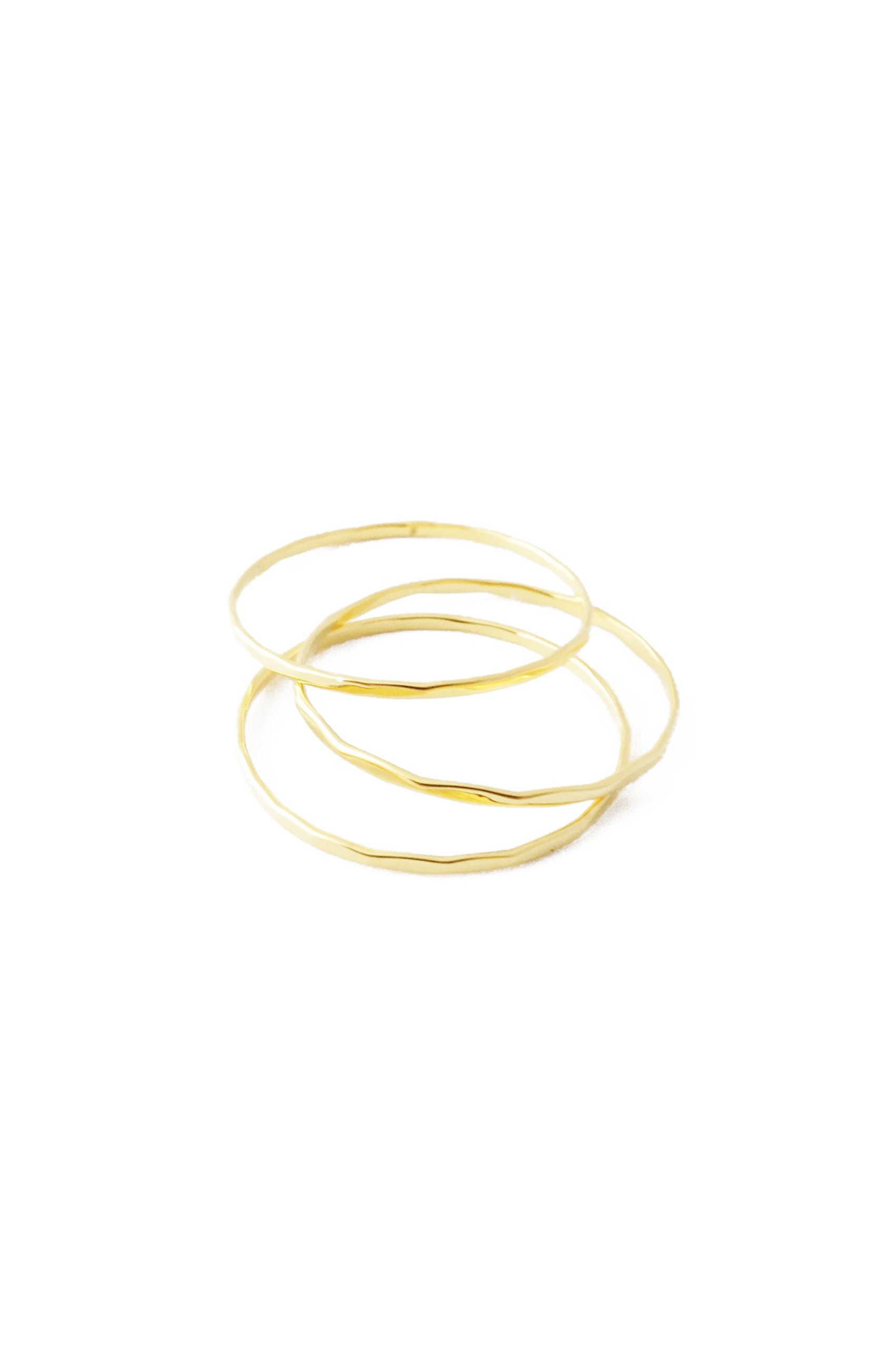 HONEYCAT Super Skinny Hammered Stacking Rings Trio Set in Gold, Rose Gold, or Silver | Minimalist, Delicate Jewelry (Hammered/G/8) by HONEYCAT