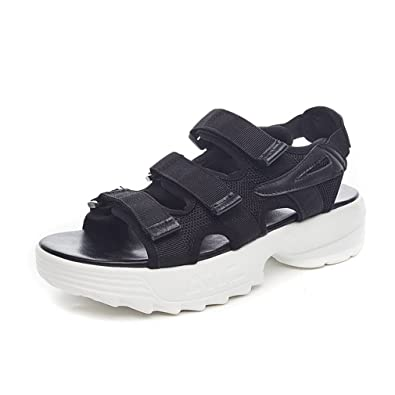 f7f3ac99f49 Zarbrina Women s Athletic Adjustable Platform Sandals for Hiking Retro  Summer Casual Outdoor Sporty Wear Black