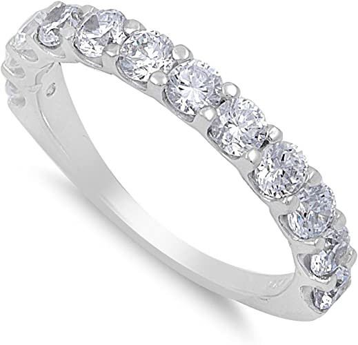 CloseoutWarehouse Nine Stones Round Cubic Zirconia Ring Sterling Silver 925