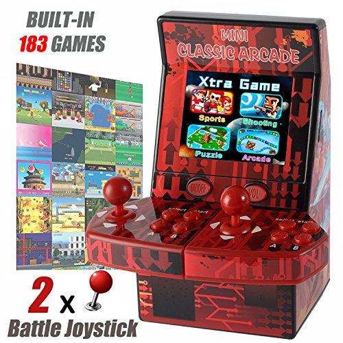 GBD Kids Mini Classic Arcade Game Cabinet Machine with 183 Handheld Video Games 2.8''Joystick and Buttons for Boys Children Travel Portable Gaming Electronic Novelty Toys Travel (Joystick Video Games)
