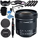 Canon EF-S 10-18mm f/4.5-5.6 IS STM Lens 9519B002 + 67mm 3pc Filter Kit + 67mm Macro Close Up Kit + Lens Cleaning Kit + Lens Pouch + 67mm Tulip Lens Hood + Fibercloth Bundle