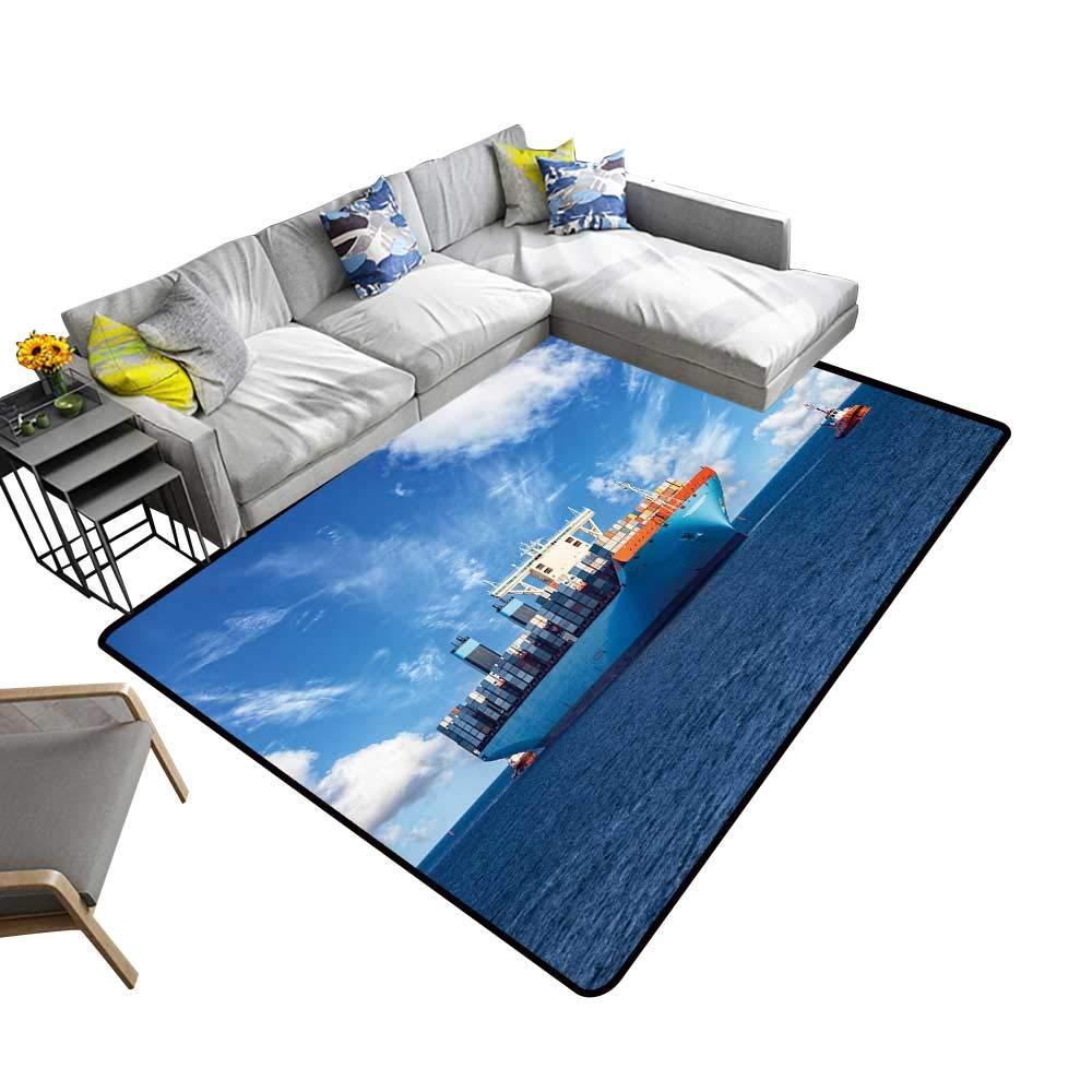 color02 5' X 7' alsohome Silky Smooth Bedroom Mats Tuna Fish Tuna Fish Emblem Eye Tuna Yellow fin Tuna Waterproof and Easy Clean 5' X 7'