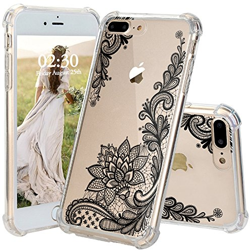 iPhone 8 Plus Case, JEXICASE Black Lace Flower Pattern Clear Shock Absorption Technology Bumper Hybrid Protective Cover Case for iPhone 8 Plus 5.5 Inch