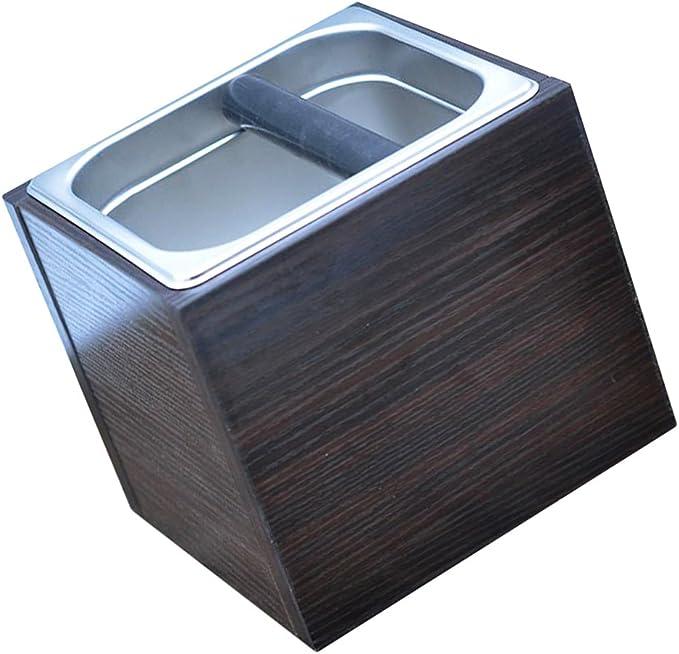 1pc ABS Coffee Knock Box Bin for Barista Espresso Grinds Tamper Waste Black
