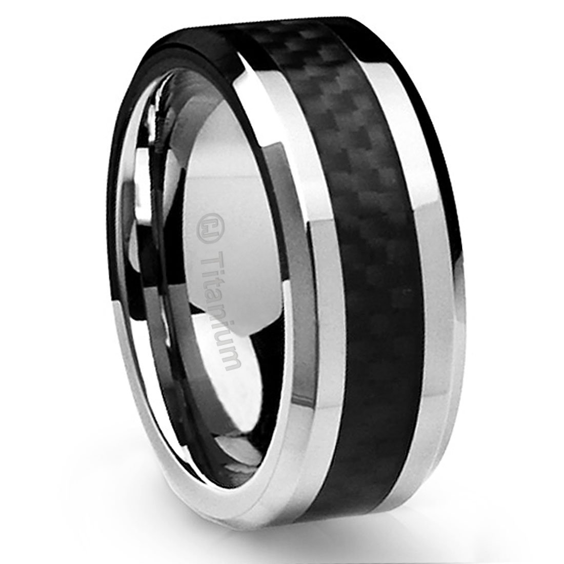 10mm Sleek Titanium Wedding Band by Cavalier Jewelers – Comfort Fit Wedding Ring with Polished Finish – Lightweight Band for Men – Black Carbon Fiber Inlay – Perfect Gift Ring [Size 11]