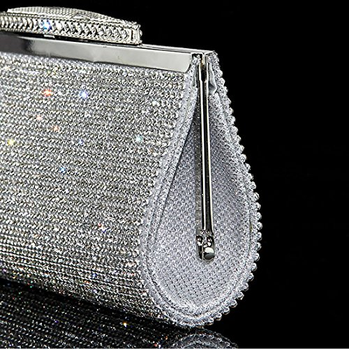 Purse Sequin Evening Silver for Sparkly Handbag UNYU Crystal Clutch Prom Party Bridal Diamante Glitter Bag Women azOUU