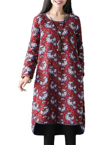 Donna Vestito Di Autunno Inverno Di Maglia Lunga Di Fiore Stampato Carino O Signora Keep Warm