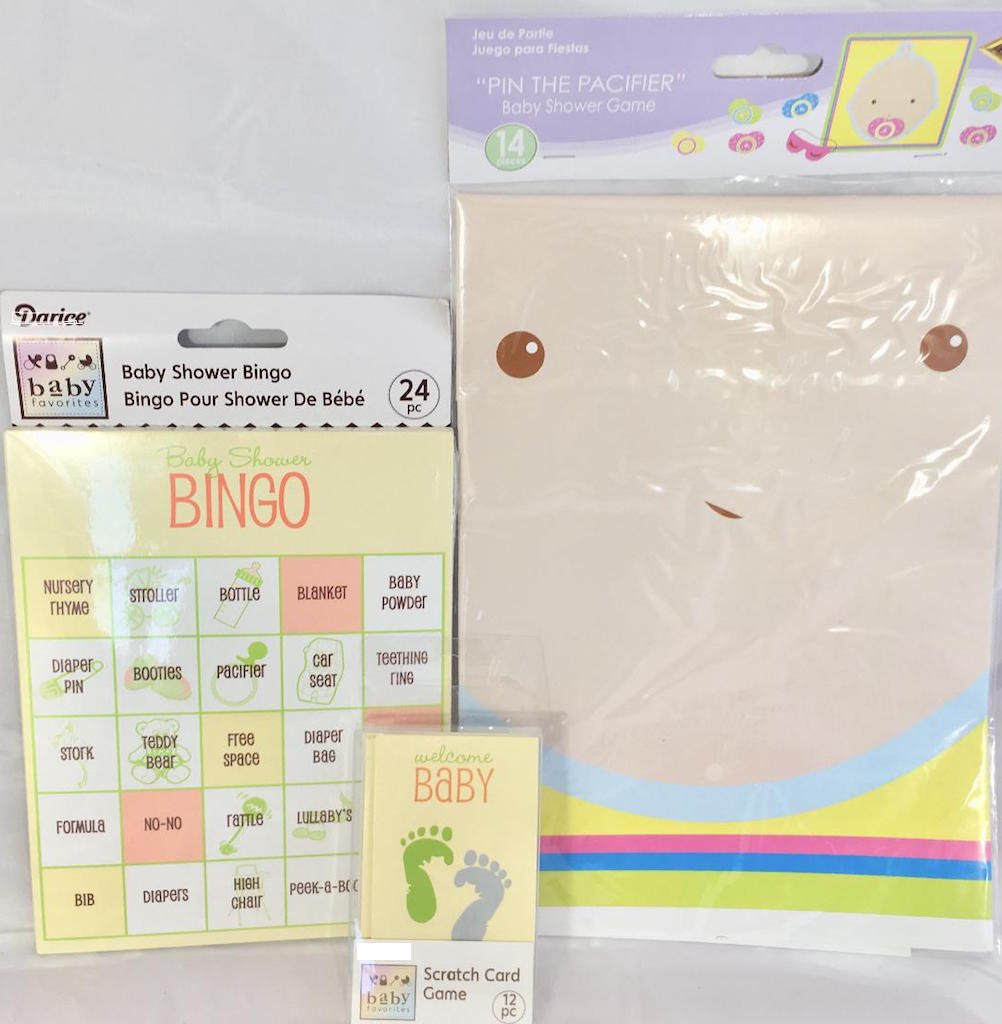 Baby Shower Party Games Bingo Pin the Pacifier and BLUE Scratch Cards by Shop and Gather