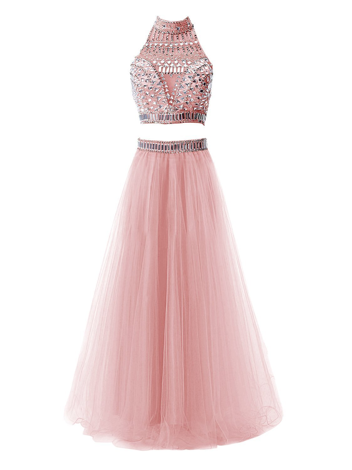 Snowskite Women's Long Halter Two Pieces Tulle Beaded Prom Evening Dress Blush 0