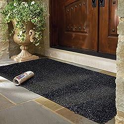 MAYSHINE Non-slip Doormats Cotton Door Mat (24x39 Inch) Mud Dirt Trapper Mats Entrance Rug Shoes Scraper Floor Indoor/Outdoor (Black&Gray)