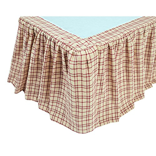 VHC Brands Rustic & Lodge Durango Cotton Split Corners Gathered Plaid King Bed Skirt, Creme White ()