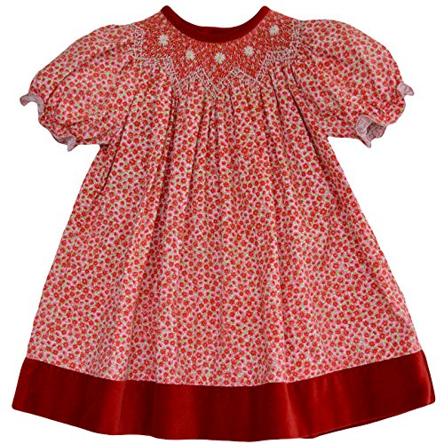 Hand Smocked Girls Dress - Baby Girl's Festive Hand Smocked Holiday Bishop Dress - Red on Red Floral, 3M