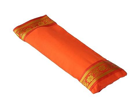Yoga United - Relajación y Meditación, Almohada de Ojo de Yoga (Funda 100% Algodón, rellena de lavanda y linaza) - Naranja