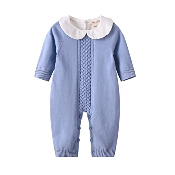 9c0189ccba24 Baby Boy Girl Long Sleeve Peter Pan Collar Knit Romper Newborn Boy Outfit  Clothes Twin Baby