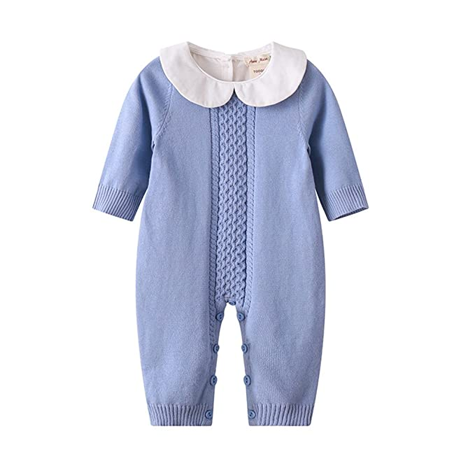 af76cd807e54 Baby Boy Girl Long Sleeve Peter Pan Collar Knit Romper Newborn Boy ...