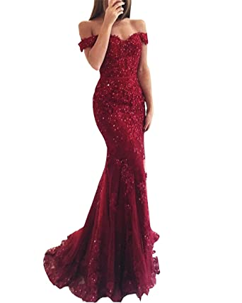 Amazon.com: Changjie Womens Off Sholder Mermaid Prom Dresses Red Formal Evening Party Gown: Clothing