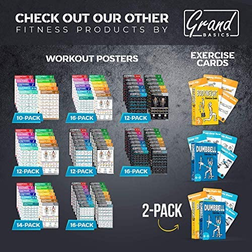 "Laminated Large Dumbbell Workout Poster – Perfect Dumbbell Exercise Poster For Home Gym – Large Size 17"" x 27"" Exercise Chart Contain 40 Illustrated Exercises For Dumbbells"