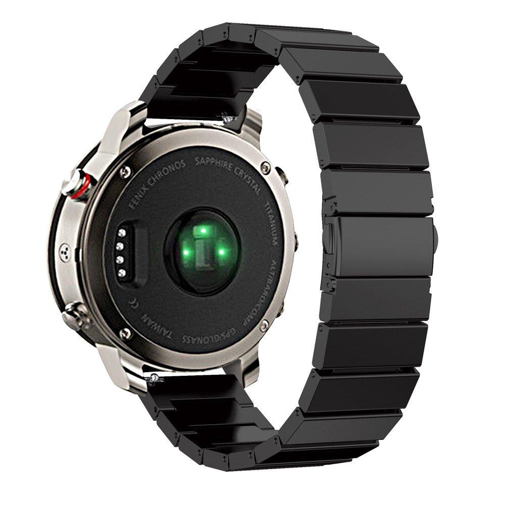 バンド、Ankolaホットステンレススチールブレスレットスマート腕時計バンド交換用時計ストラップfor Garmin Fenix Chronos  ブラック B071NMVY5B