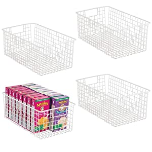 mDesign Farmhouse Decor Metal Wire Food Organizer Storage Bin Basket with Handles for Kitchen Cabinets, Pantry, Bathroom, Laundry Room, Closets, Garage - 4 Pack - Matte White