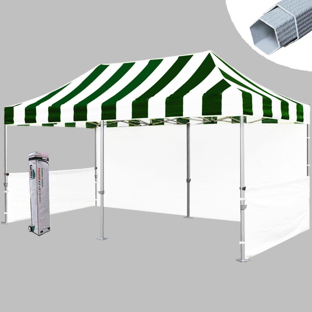 Eurmax PRE 10 x 20 Pop upパーティーテントウェディングキャノピーGazeboブースwithローラーバッグと4重量バッグ B00C4O6TX2 Green|White Green|White