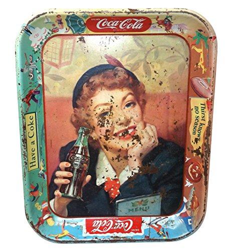 Vintage 1950's Coca-Cola Metal Menu Girl Advertising Serving Tray - Antique Coca Cola Trays