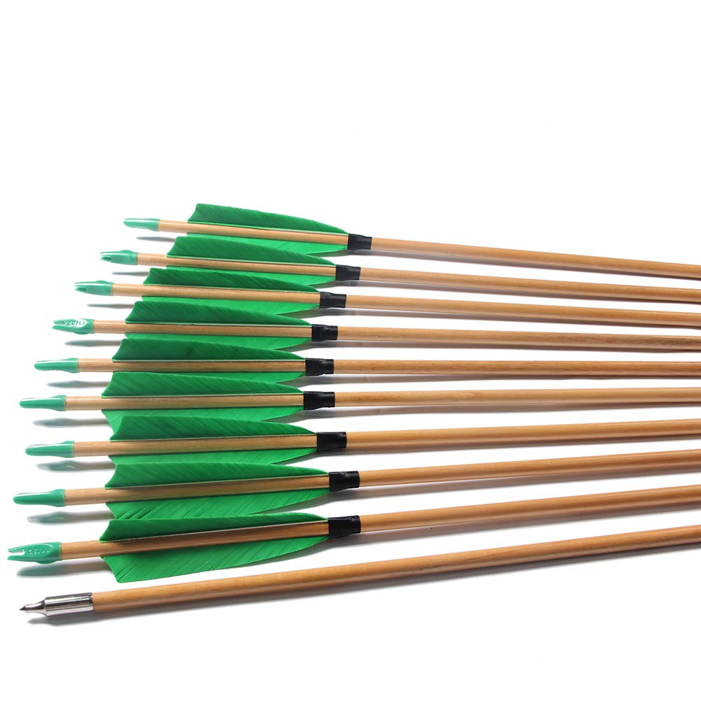 FlyArchery 32 Inch Target Arrows, Archery Hunting Wooden Arrows Turkey Feather with Field Tips for Shooting Recurve Bow (Pack of 12)