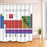 Educational Shower Curtains By KOTOM Chemical Periodic Table For Kids Educational Function Bath Curtains, 69X70 Inches