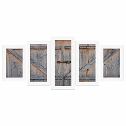 Amazon.com: InterestPrint Rustic Wooden Barn Door Canvas Wall Art ...