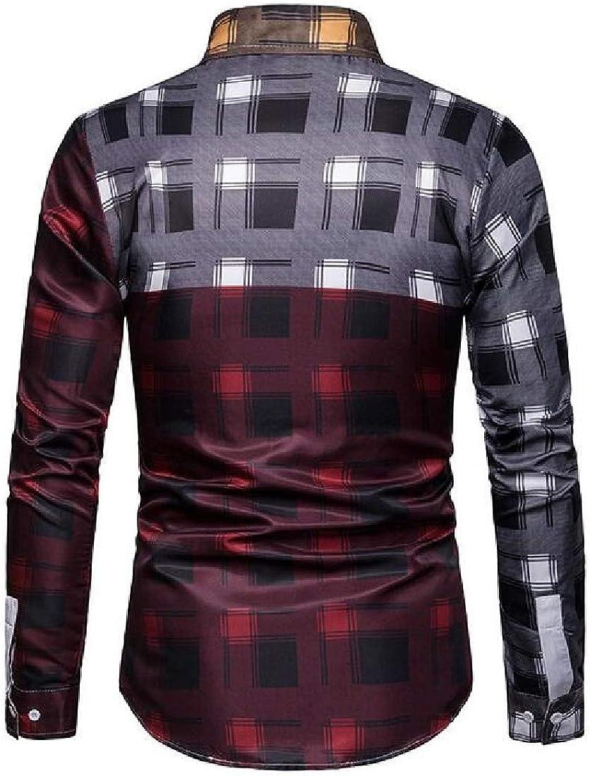 X-Future Mens Contrast Checkered Long Sleeve Casual Regular Fit Button Down Dress Shirt