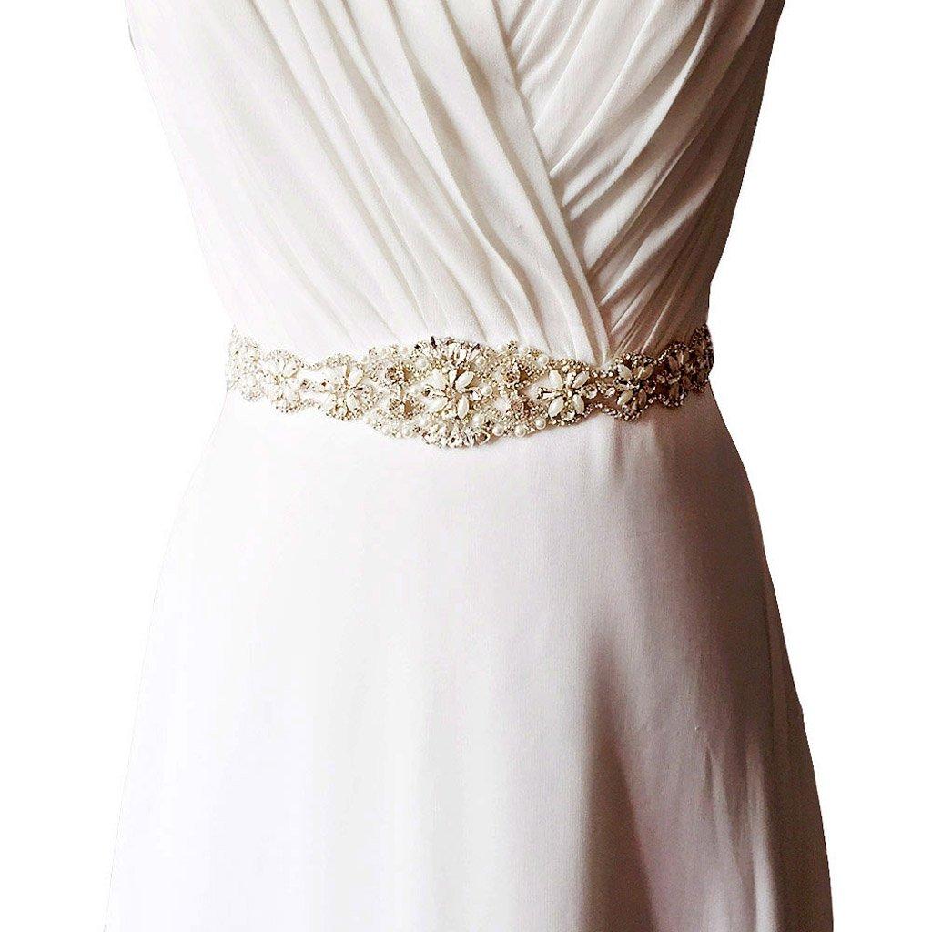 Gazechimp Vintage Cinturón de Lazo con Perlas Flor Artificial Vestido de Futura Esposa Perlas Falsas Accesorio de Boda - Champán, 41 x 5 cm: Amazon.es: ...