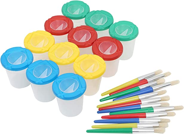 4 Assorted Colors Palette Cups School Classroom 2.4 Inches Tall Art Supply for Kids 12-Pack Spill Proof Paint Cups with Lids 2.75 Inches in Diameter No Spill Paint Cups