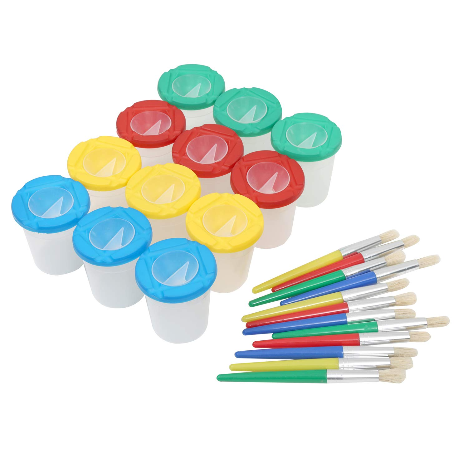 MEEDEN 12 Piece Children's No Spill Paint Cups 3.3inches Tall with Colored Lids and 12 Piece Round Brush Set, 3inches in Diameter by MEEDEN
