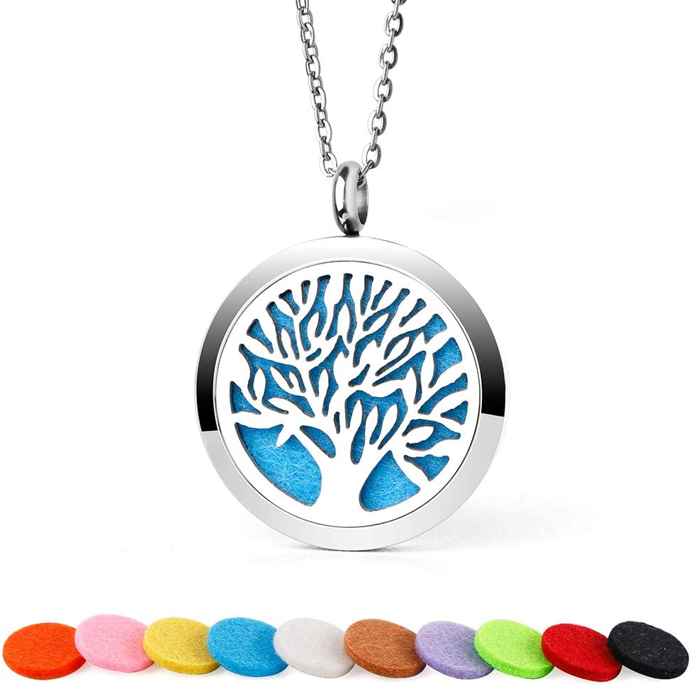 ttstar Aromatherapy Essential Oil Diffuser Necklace Tree of Life Stainless Steel Locket Pendant Aromatherapy Jewelry for Women & Children with 10 Felt Pads