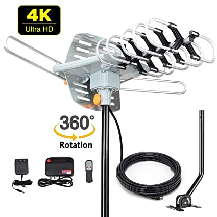 HDTV Antenna Amplified Digital Outdoor Antenna -150 Miles Range-360 Degree  Rotation Wireless Remote-Snap- Wireless Remote Control - UHF/VHF 4K 1080P