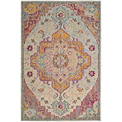 Safavieh Crystal Collection CRS501B Light Blue and Fuchsia Pink Bohemian Medallion Area Rug (6'7 x 9'2)